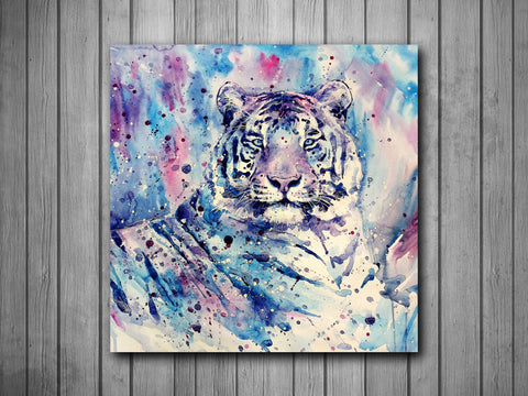 Tiger Watercolor Painting Art Background Photo Panel - Durable Finish - High Definition - High Gloss