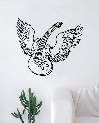 Wings Guitar Wall Decal Sticker Bedroom Room Art Vinyl Home Decor Music Teen Kids Electric Acoustic Rock