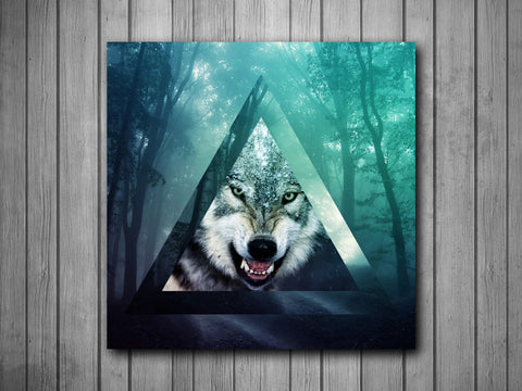 Wolf Triangle Hipster Art Background Photo Panel - Durable Finish - High Definition - High Gloss