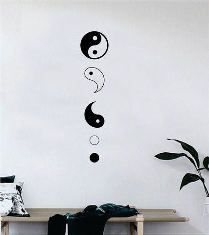 Yin Yang Pieces Quote Decal Sticker Wall Vinyl Art Decor Bedroom Living Room Namaste Om Meditate Zen Buddha Good Vibes Teen Balance