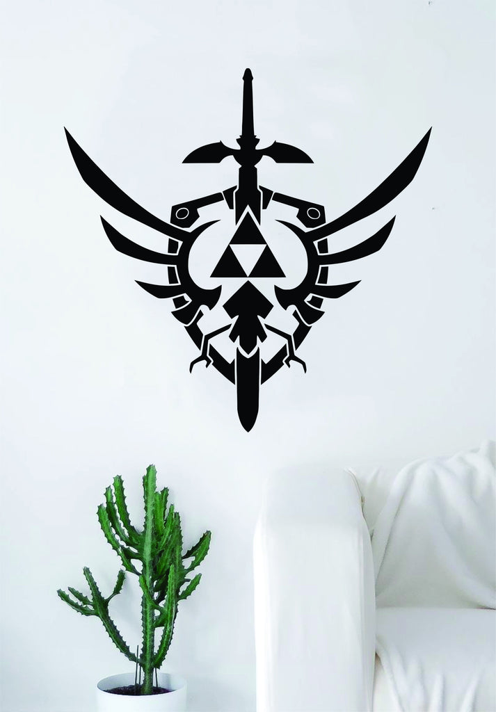 Triforce zelda master sword logo gamer video game decal sticker wall vinyl decor art home bedroom