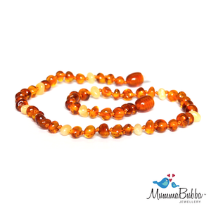 Mummabubba Baltic Amber teething Necklace cognac and butter