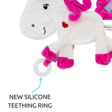 Silver the Unicorn Taggie Baby Comforter with silicone teether