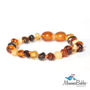 Baltic Amber Anklet Multi Polished