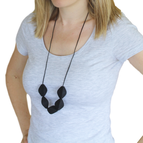 Large Tulip Silicone Necklace Black
