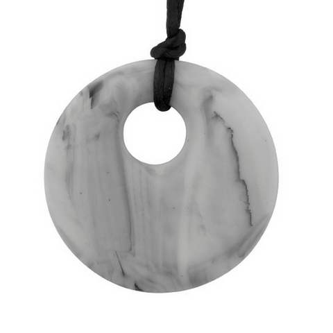 Pendant Silicone Necklace Marble (Black/Grey)