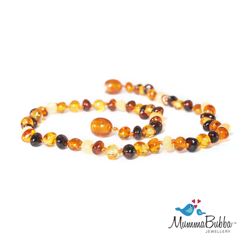 Mummabubba Baltic Amber teething Necklace multi polished