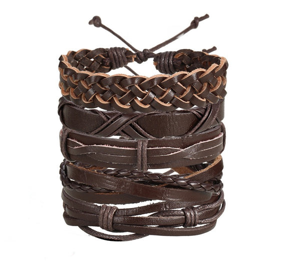 Rough and Twisted - Leather Bracelets Set of 5 - For Men