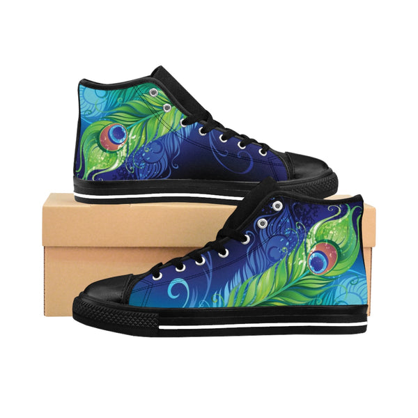 Peacock Feathers in Motion  - Women's High-top Sneakers