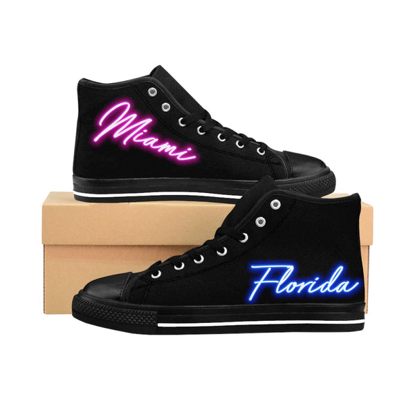 80's Neon Lights - Miami, Florida Edition - Men's High-top Sneakers