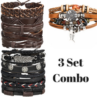 Vengeance and Fury - Handmade Leather Bracelets - Combo Set - For Men