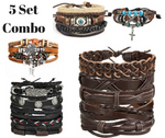 Sword and Stone - Handmade Leather Bracelets - 5 Combo Set - for Men
