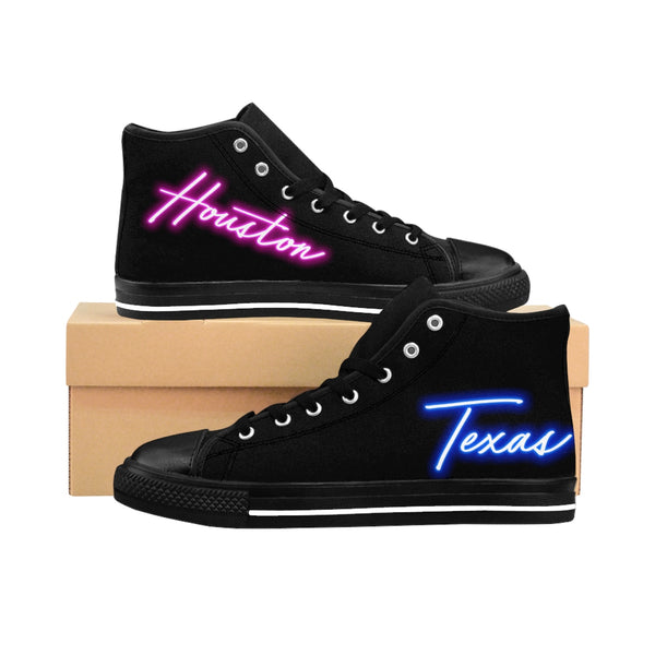80's Neon Lights - Houston, Texas Edition - Women's High-top Sneakers