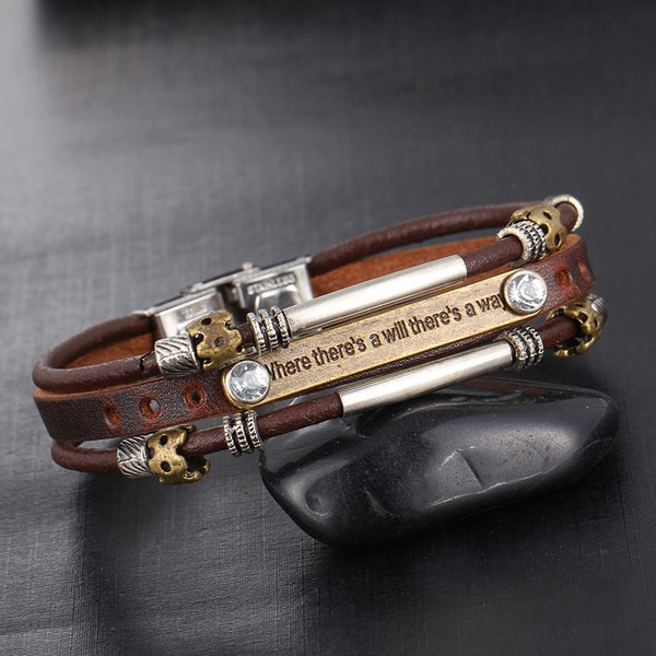 Hope and Might - Leather Bracelet - For Men