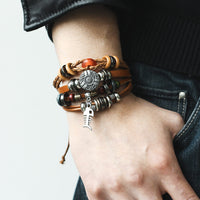 Fish and Stream - Leather Bracelet Set - For Men