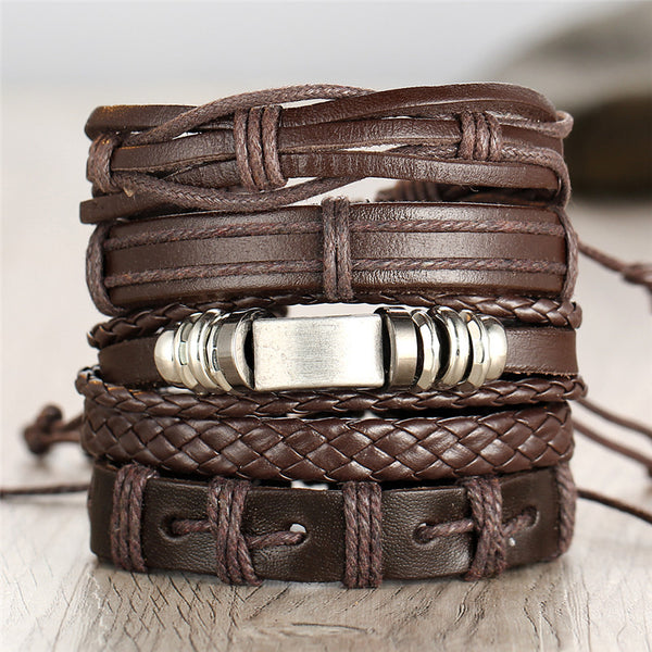 Iron and Gravel - Leather Bracelet - Set of 5 - For Men