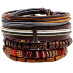 Tribe and Jungle  - Leather Bracelet -Set of 5 For Men