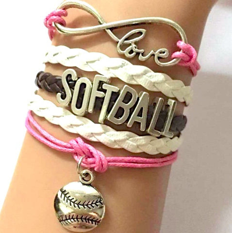 Softball Love Bracelet Heart - Handmade