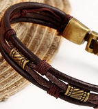 Egypt and Ground- Leather Bracelet - For Men