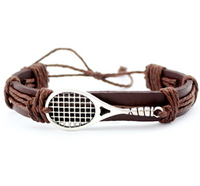 Tennis Love - Handmade Leather Bracelet