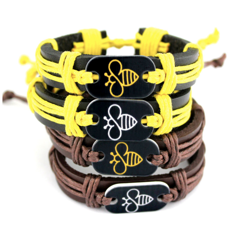 Bee Mine - Handmade Leather Bracelet