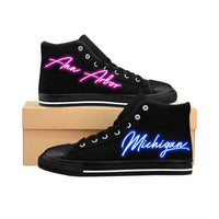 80's Neon Lights -Ann Arbor, Michigan Edition - Women's High-top Sneakers