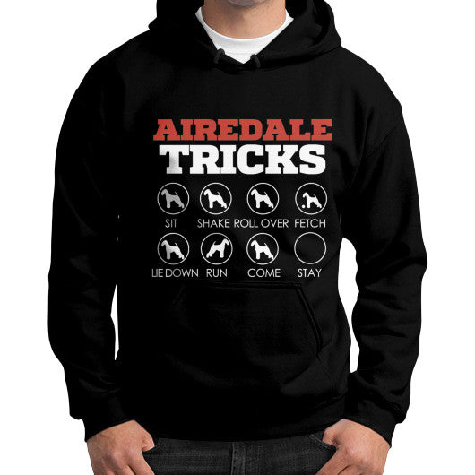 Airedale Tricks! Gildan Hoodie Black Blue Moon Clouds