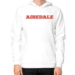 Airedale Tricks! Men Hoodie White Blue Moon Clouds