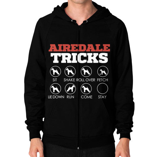 Airedale Tricks! Men Zip Hoodie Black Blue Moon Clouds