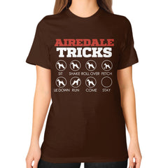 Airedale Tricks!  Unisex T-Shirt Brown Blue Moon Clouds