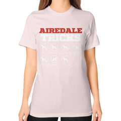 Airedale Tricks!  Unisex T-Shirt Light pink Blue Moon Clouds