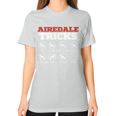 Airedale Tricks!  Unisex T-Shirt Silver Blue Moon Clouds
