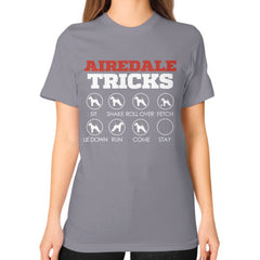 Airedale Tricks!  Unisex T-Shirt Slate Blue Moon Clouds