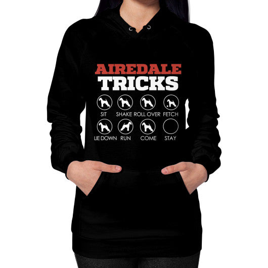 Airedale Tricks! Women Hoodie Black Blue Moon Clouds