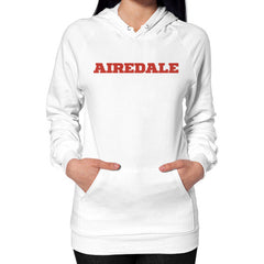 Airedale Tricks! Women Hoodie White Blue Moon Clouds
