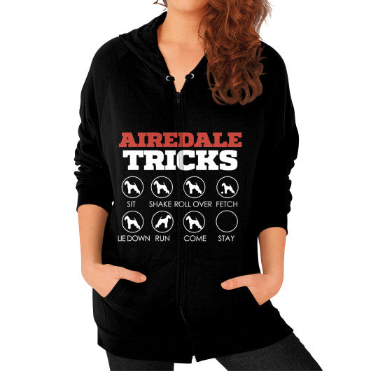 Airedale Tricks!  Women Zip Hoodie Black Blue Moon Clouds