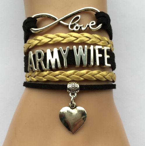 Infinity Love Army Wife or Mom Bracelet - Handmade