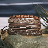 Command and Respect -  Handmade Leather Bracelets for Men - Set of 4