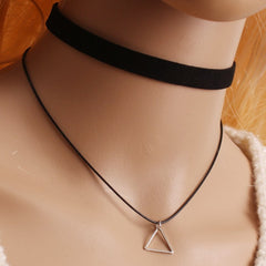 Retro Black Choker Necklace with Hollow Triangle Pendant