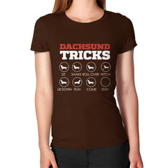 Dachshund Tricks! Women's T-Shirt Brown Blue Moon Clouds