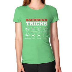 Dachshund Tricks! Women's T-Shirt Grass Blue Moon Clouds