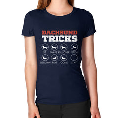 Dachshund Tricks! Women's T-Shirt Navy Blue Moon Clouds