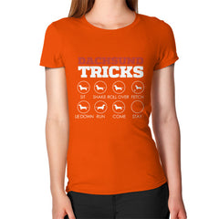 Dachshund Tricks! Women's T-Shirt Orange Blue Moon Clouds