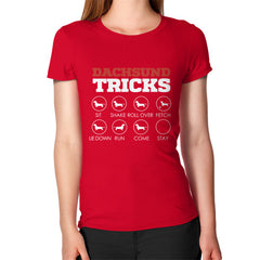 Dachshund Tricks! Women's T-Shirt Red Blue Moon Clouds