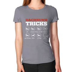 Dachshund Tricks! Women's T-Shirt Slate Blue Moon Clouds