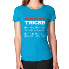 Dachshund Tricks! Women's T-Shirt Teal Blue Moon Clouds