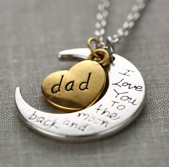 "Dad Moon Necklace "" I Love You To The Moon And Back """