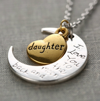 "Daughter Moon Necklace "" I Love You To The Moon And Back """