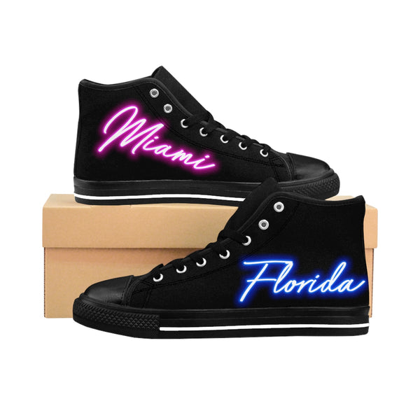 80's Neon Lights - Miami, Florida Edition - Women's High-top Sneakers