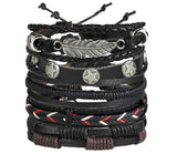 Star and Brush - Leather Bracelets Set of 5 - For Men